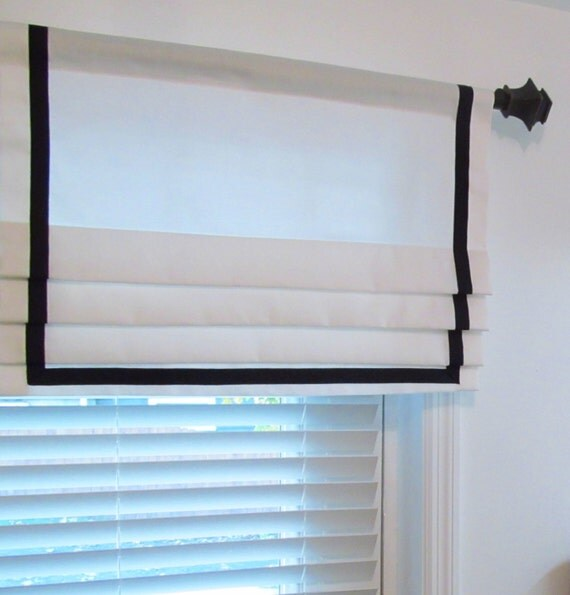 ... Lined Mock Valance Ribbon Banded Faux Roman Shade Ribbon Trim Curtains