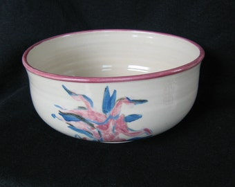 Large Handmade Glazed Ceramic Pasta or Salad Bowl with Floral Design