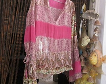 Gorgeous Multi Patterns Tunic Top in Shades of  Pink with a Variety of Floral Motifs, Vintage - Medium to Large
