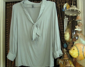 Bow-Knotted Neckline Pale Green Viscose Blouse, Featuring Tiny Built-In Floral Design, Long Sleeves and Golden Button Cuffs, Small to Medium