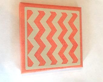 Orange Chevron Ceramic Coaster