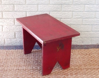 red vintage wooden footstool childs stool