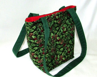 Holly Purse, Small Tote Bag, Christmas, Holiday, Cloth Purse, Handmade Handbag, Green, Red, Fabric Bag, Shoulder Bag