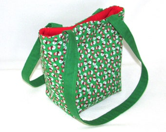 Snowman Purse, Small Tote Bag, Green, Red, White, Winter, Holiday, Cloth Purse, Handmade Handbag, Christmas, Fabric Bag, Shoulder Bag