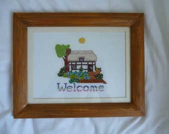 New framed cross stitch welcome with cottage