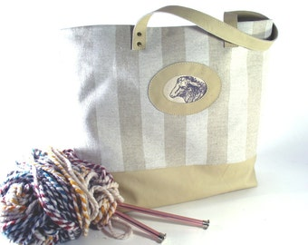Linen Knitting Tote, Sheep Print, Leather Trim, IN STOCK