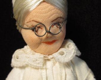 Vintage Cloth Handmade Granny Doll in Czechoslovakian Bohemian Costume