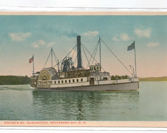 "New Hampshire, Vintage Postcard, ""Steamer Mt. Washington, Wolfeboro, N.H.,""  1920s,  #701"