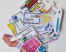 Airmail stickers 15 pcs planner stickers Erin Condren Stickers  watercolor stickers--S039