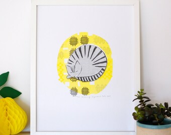 A3 'Morning' Cat Riso Print, Limited Edition