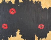 Untitled - Abstract, Black and Gold Floral, Acrylic Painting, Happy Modern Fine Art