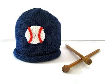 BASEBALL hat for child - handknit boy's hat - knit boy's hat - winter sports hat - boy's beanie hat - toddler beanie hat - child's