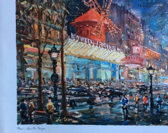 Large Vintage French Prints of Paris and  the Moulin Rouge by G Leon