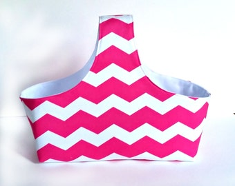 Fabric Storage Container - Fabric Storage Basket - Diaper Caddy -  Pink Diaper Storage - Chevron Diaper Caddy - Girl Nursery Decor