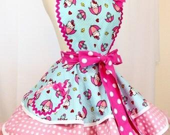 Hello Kitty Showers Apron, Pin up. Ready To Ship