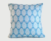 Blue Decorative Pillow Covers.  1 cover for 18x18 insert. Shabby chic cottage decor sofa pillow throw pillow window seat nursery decor