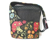 Cross Body Purse, Shoulder Bag, Black and Multi Colored Floral