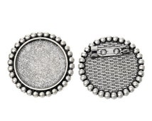 """10 Antiqued Silver Brooch Pin with Bezel Cabochon Tray, 1"""" Bezel Tray (fits 24mm), pin blanks, pin0087"""