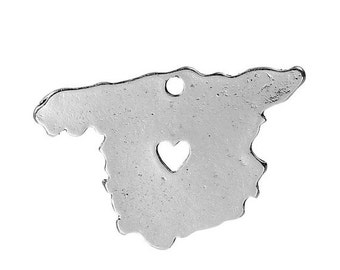 10 SPAIN MAP Charms, Silver Plated Country Pendants, Madrid Heart Cutout, 30x20mm, chs2436