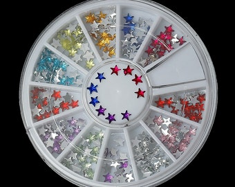 MIXED COLORS Acrylic Rhinestones STAR in storage box, flat back cabochons, nail art, decoden, paper craft embellishment 3mm cry0120