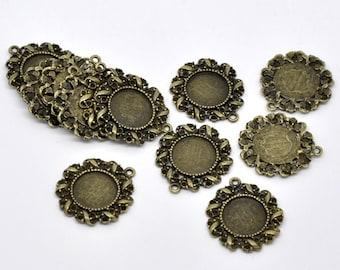 5 Cameo Bezel Frame Charm Pendant Blanks . fits 14mm round cabochon, Bronze Metal, chb0414