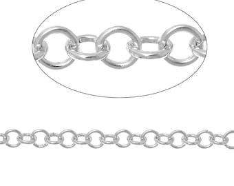3 meters (about 9 feet) Silver ALUMINUM Round Cable Link Chain, Rolo chain, 4mm links  fch0307