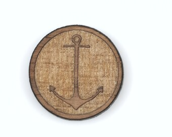 6 NAUTICAL ANCHOR Charms, Anchor Cabochon, Laser Cut Supplies, Laser Engraved Wood, Earring Gauge Plug, Sustainable Wood Supplies, Lcw0031