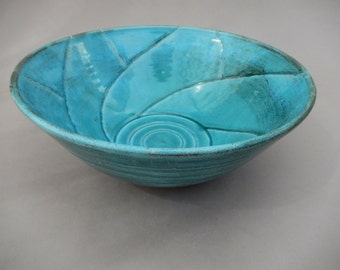 Serving Bowl - Handmade Pottery - Turquoise and Terracotta Bowl