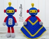 Combo Pack - Robby the Robot Lovey and Amigurumi Set for 5.99 Dollars - PDF Crochet Pattern Instant Download - Special Offer