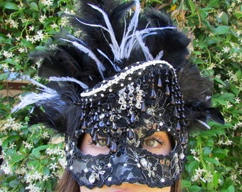 One of a Kind - Black and Silver Masquerade Collectible Mask