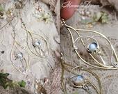 Fay Leaf Swirls Moonstone Earrings