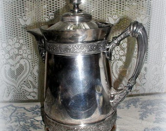 Huge Victorian Aesthetic Movement Silver Ice Water Pitcher 1868 Antique Holloware Floral Brittaniaware Rogers, Smith & Co. Serving Pitcher