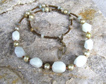 white agate chunky necklace gemstone necklace, single strand 20 inch  beaded necklace