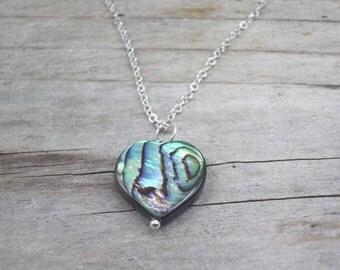 Abalone necklace Paua shell pendant abalone jewelry silver dainty chain heart pendant bead