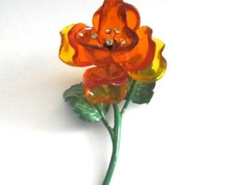 Vintage Cellulose Acetate Flower Brooch 1950's