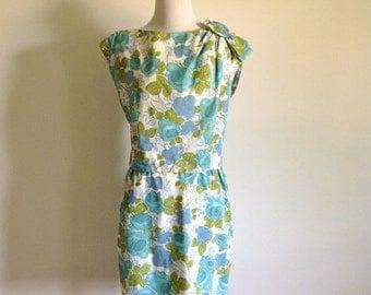 ON SALE 60s Blue Floral Dress Set - Vintage Leslie Fay - Size Medium to Large