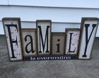 FAMILY is everything Sky Block set with base--great shelf decoration