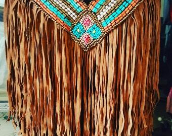 Hippie style fringe bra with applique