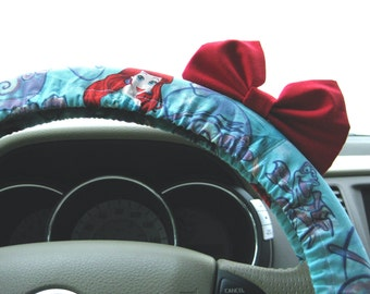 Steering Wheel Cover Bow, Little Mermaid Inspired Steering Wheel Cover & Bright Red Bow, Ariel Wheel Cover Red Bow, Disney Mermaid BF11294