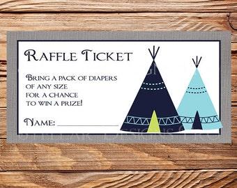 Teepee Diaper Raffle, Tribal Raffle Ticket, Navy, Blue, Teepee Raffle ticket, As is instant download - 1PDF 8.5x11, 1515