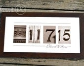 Personalized Wedding Gift Number Photo Art, Custom Sepia Wedding Date, Wedding Gift for Couples - 10x20 Modern Frame