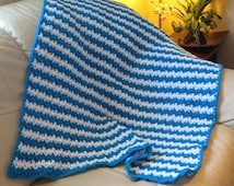 "Lap Blanket - Turquoise and White - Reading Chair Car Stadium Wheelchair Hospice Baby Blanket - 35"" x 34"" - Item 4410"