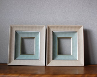 PAIR of vintage shadow box picture frames aqua cream silver gold trim