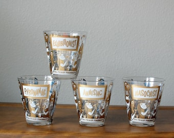 Rare 1950's Georges Briard Picked Personality Bar Drinking Glasses Set of 4