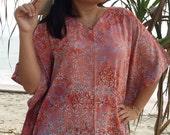 Plus Size, Smokey Peach, Batik Dress, Tunic Dress, Caftan Dress, Kaftan Dress, Pregnant Dress, Maternity Dress, Beach Coverup, Womens Dress