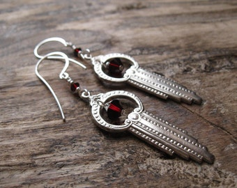 Silver Art Deco Gothic Earrings with Garnet Swarovski Crystals