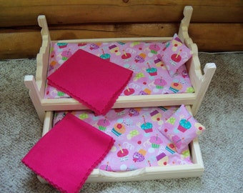 Wooden Trundle Bed made for 18 inch dolls American Girl, 8 pc furniture set includes 2 pillows, 2 blankets & 2 mattresses