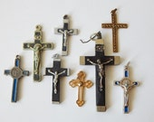 crucifix lot 8 vintage crosses