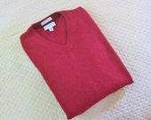 Vintage cashmere sweater, Cranberry, V neck, unisex, boyfriend  sweater, PJohn W Nordstrom