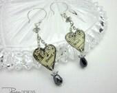 Mixed Media Earrings - Handmade Heart Earrings - Dangle Earrings Resin Paper - Unique Jewelry